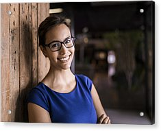 Portrait Of Confident Businesswoman Against Wooden Wall Acrylic Print by Portra