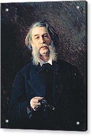 Portrait Of Dmitri Vasilievich Grigorovich 1822-99, 1876 Oil On Canvas Acrylic Print by Ivan Nikolaevich Kramskoy