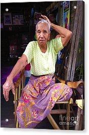 Acrylic Print featuring the photograph Portrait Of Elderly Burmese Lady Sitting In Front Of Home 33rd Street Chanayethazan Mandalay Burma by Ralph A  Ledergerber-Photography