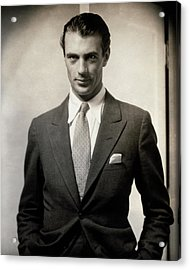 Portrait Of Gary Cooper Wearing A Suit Acrylic Print by Edward Steichen
