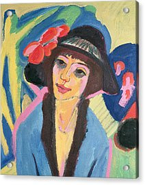 Portrait Of Gerda Acrylic Print by Ernst Ludwig Kirchner