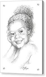 Portrait Of Girl. Commission. Stippling In Black Ink Acrylic Print
