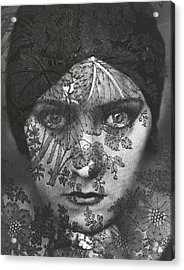Portrait Of Gloria Swanson Behind Lace Acrylic Print