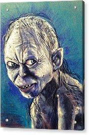 Portrait Of Gollum Acrylic Print by Alban Dizdari