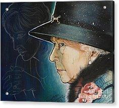 Portrait Of Her Majesty Elizabeth The Second Acrylic Print by Ottilia Zakany