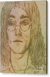 Portrait Of John Lennon Acrylic Print by Joan-Violet Stretch
