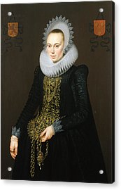 Portrait Of Justina Van Teylingen, 1616 Oil On Panel See 307901 For Pair Acrylic Print