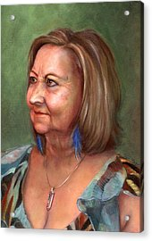 Portrait Of Lana Acrylic Print by Terri  Meyer