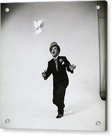 Portrait Of Man With Bird Acrylic Print