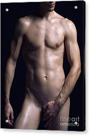 Portrait Of Man With Fit Naked Body Acrylic Print