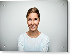 Portrait Of Mid Adult Businesswoman Smiling Acrylic Print by Morsa Images