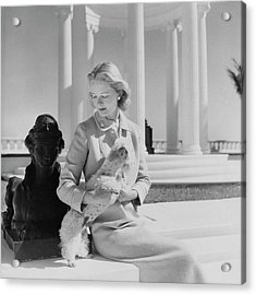 Portrait Of Mrs. Winston Guest With A Dog Acrylic Print