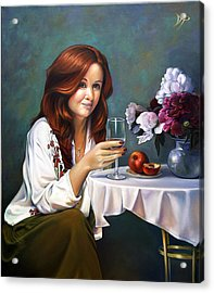 Portrait Of Nadia With Peonies And Peaches Acrylic Print by Patrick Anthony Pierson