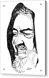 Acrylic Print featuring the drawing Portrait Of Padre Pio by Ze  Di
