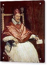Portrait Of Pope Innocent X 1574-1655, 1650 Oil On Canvas Acrylic Print by Diego Rodriguez de Silva y Velazquez