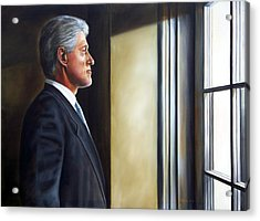 Portrait Of President William Jefferson Clinton In Profile Acrylic Print by RB McGrath