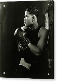 Portrait Of Professional Boxer Joe Louis Acrylic Print by Lusha Nelson