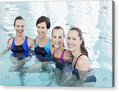 Portrait Of Smiling Women In Swimming Pool Acrylic Print by Robert Daly