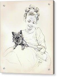 Portrait Of Sylwia Acrylic Print by Anna Ewa Miarczynska