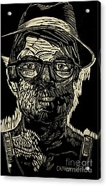 Portrait Of The Artist In A Fedora Final Stage Acrylic Print by Charlie Spear