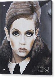 Portrait Of Twiggy Acrylic Print by Moe Notsu