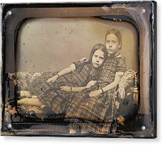 Portrait Of Two Girls Reclining On Chaise Lounge Sheldon K Acrylic Print
