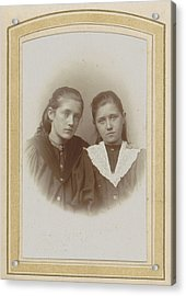 Portrait Of Two Girls With Long Hair, One With A Lace Cravat Acrylic Print