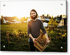 Portrait Of Urban Farmer Holding Crate Of Potatoes Acrylic Print by Tom Werner
