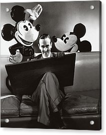 Portrait Of Walt Disney Sitting With Open Cartoon Acrylic Print by Edward Steichen
