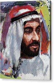 Portrait Of Zayed Bin Sultan Al Nahyan Acrylic Print by Maryam Mughal