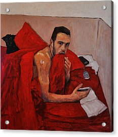 Portrait On Bed Acrylic Print by Roberto Del Frate