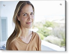 Portrait Smiling Blonde Woman On Patio Acrylic Print by Hoxton/Ryan Lees
