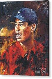 Portrait - Tiger Woods Acrylic Print by Christiaan Bekker
