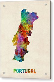 Portugal Watercolor Map Acrylic Print