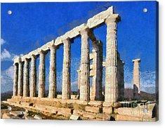 Poseidon Temple Acrylic Print by George Atsametakis
