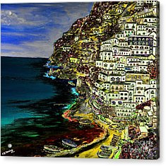 Positano At Night Acrylic Print