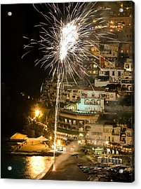 Acrylic Print featuring the photograph Positano Fireworks - Italy by Carl Amoth