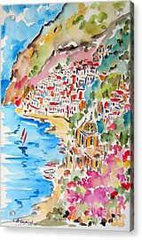 Positano Water Color Acrylic Print