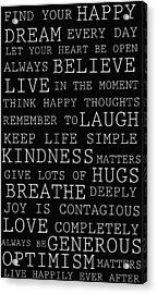 Positive Words Acrylic Print