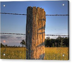 Post And Barb Wire Acrylic Print by Larry Capra