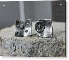 Post Stud Silver Unisex Earrings Acrylic Print by Vesna Kolobaric