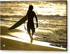 Post Surf Gold Acrylic Print by Sean Davey