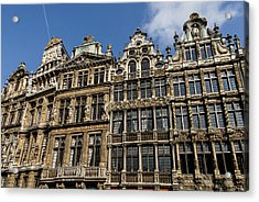 Acrylic Print featuring the photograph Postcard From Brussels - Grand Place Elegant Facades by Georgia Mizuleva