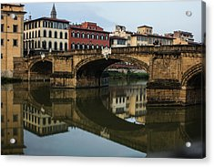 Postcard From Florence - Arno River And Ponte Santa Trinita  Acrylic Print