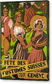 Poster Advertising F?te Des Costumes Acrylic Print by Jules Courvoisier
