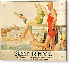 Poster Advertising Sunny Rhyl  Acrylic Print by Septimus Edwin Scott