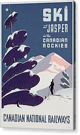 Poster Advertising The Canadian Ski Resort Jasper Acrylic Print