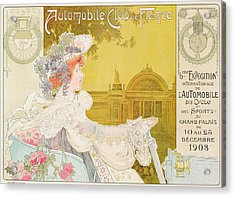 Poster Advertising The Sixth Exhibition Of The Automobile Club De France Acrylic Print by J Barreau