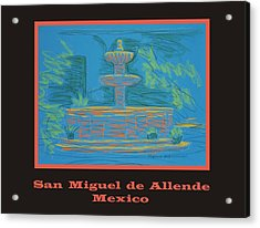 Poster - Blue Fountain Acrylic Print by Marcia Meade