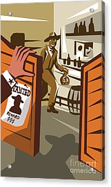 Poster Illustration Of An Outlaw Cowboy Acrylic Print by Patrimonio Designs Ltd